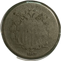 1867 SHIELD NICKEL 5 CENT US COIN SI70