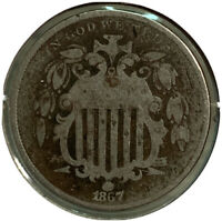 1867 SHIELD NICKEL 5 CENT US COIN SI71
