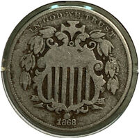 1868 SHIELD NICKEL 5 CENT US COIN SI72