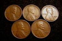 LOT 1921-S 1924-S 1925-S 1927-S 1928-S CIRCULATED LINCOLN WHEAT CENTS