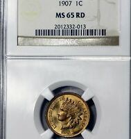 1907 MINT STATE 65 RED RD INDIAN HEAD CENT 1C, NGC GRADED