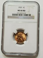 1937 LINCOLN CENT MINT STATE 66 RD NGC