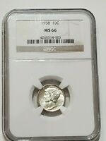 1938 MERCURY DIME MINT STATE 66 NGC