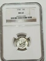 1940 MERCURY DIME MINT STATE 66 NGC