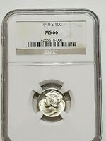 1940 S MERCURY DIME MINT STATE 66 NGC