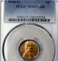 1940-D MINT STATE 67 PLUS RED RD LINCOLN WHEAT CENT 1C, PCGS GRADED
