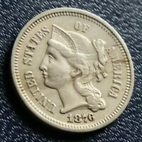 WELL DETAILED 1876 NICKEL THREE III CENT PIECE OLD 3C COIN