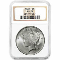 1922 $1 SILVER PEACE DOLLAR NGC MINT STATE 64 BROWN LABEL