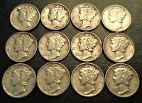 12 HIGH GRADE SET 1936 PDS 1939 PDS LIBERTY WINGED MERCURY 1