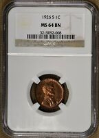 1926-S 1C LINCOLN CENT NGC MINT STATE 64
