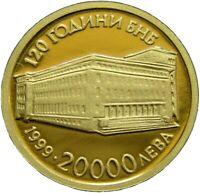 BULGARIA 20000 LEVA 1999 NATIONAL BANK 999 GOLD PROOF COIN C