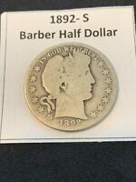 1892  S BARBER HALF DOLLAR  YOU GRADE   NICE COIN FOR YOUR C