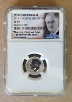 2015 P  REVERSE PROOF MARCH OF DIMES SILVERROOSEVELT 10 CENTS NGC PF 69