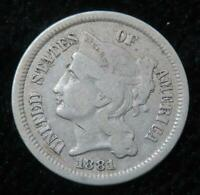 1881 THREE CENT NICKEL  GREAT LOOKING COIN  FULL LINES ON COLUMNS  801