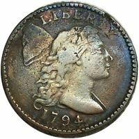 1794 LIBERTY CAP BUST LARGE CENT $1/100  BEAUTIFUL COPPER CO