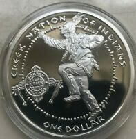 2006 CREEK NATION OF INDIANS US NATIVE AMERICAN SILVER 1 OZ ROUND   PROOF