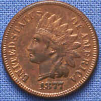 1877 INDIAN HEAD CENT CHOICE AU WITH SOME RED. KEY DATE. SUP