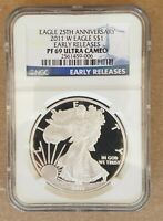 2011 W  NGC PF 69 ER AMERICAN SILVER EAGLE PROOF 25TH ANNIVERSARY LABEL