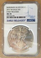 2017 W  NGC MS 70 EARLY RELEASE BURNISHED AMERICAN SILVER EAGLE