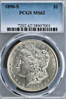 1890 S MORGAN SILVER DOLLAR PCGS MINT STATE 62 - BETTER DATE - DOUBLEJCOINS 3009-61