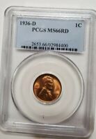 1936 D LINCOLN CENT MINT STATE 66 RD PCGS