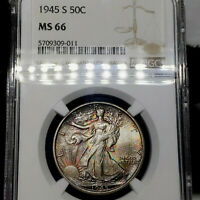 1945-S MINT STATE 66 WALKING LIBERTY HALF DOLLAR 50C, NGC GRADED, DEEP COLORFUL TONED