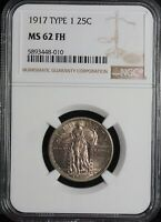 NGC 1917 TYPE 1 STANDING LIBERTY MS 62 FH QUARTER 25C UNCIRC