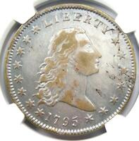 1795 FLOWING HAIR SILVER DOLLAR $1 COIN - NGC VF DETAIL -  DATE - LOOKS EXTRA FINE