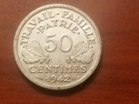 1942 VICHY FRANCE 1/2 FRANC FRENCH 50 CENTIMES COIN WORLD WAR 2 WW2 WWII RELIC