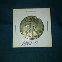 VINTAGE ANTIQUE SILVER US COIN 1942 D WALKING LIBERTY HALF DOLLAR VG