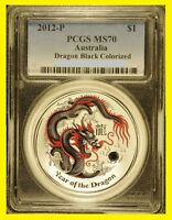 2012 P AUSTRALIA BLACK COLORIZED SILVER DRAGON  1 OZ  PCGS M