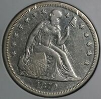 1870 SEATED LIBERTY SILVER ONE DOLLAR S$1 COIN