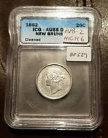 1862 NEW BRUNSWICK CANADA 20 CENTS  ICG AU 58 CLEANED BRIGHT
