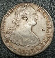 1803 FT MEXICO 8 REALE COUNTERSTAMPED COIN RARE GRADE US FIR