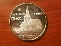 1996 O' LITTLE TOWN 1 OUNCE SILVER ART ROUND ONE OZ BAR .999 FINE COIN