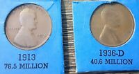 1913 1936D WHEAT LINCOLN PENNIES - - SEE PHOTO
