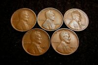 LOT 1909-P 1931-P 1932-P 1932-D 1933-P CIRCULATED LINCOLN WHEAT CENTS