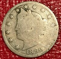 A VINTAGE AG 1896 LIBERTY HEAD V NICKEL COIN-OLD US COIN-JAN804