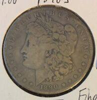 1890-S MORGAN SILVER DOLLAR - 90 US COIN IN FINE CIRCULATED CONDITION
