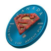 CANADA 2016 5$ SUPERMAN SPACE BLUE 1 OZ SILVER COIN WITH REA