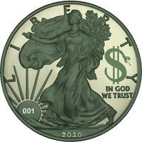 USA 2020 1$ LIBERTY SPACE COLOUR EDITION   PAINT IT GREEN 1