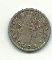 FINE VF DETAILS 1897 DATE DOUBLING LIBERTY HEAD V NICKEL COINS-NOV460