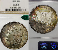 1890 P MINT STATE 62 CAC MORGAN SILVER DOLLAR $1, NGC GRADED, COLORFULLY TONED