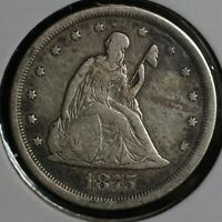 1875 S SEATED LIBERTY SILVER TWENTY CENT 20C COIN
