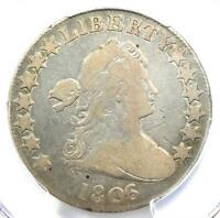 1806/5 DRAPED BUST HALF DOLLAR 50C COIN O-102 - CERTIFIED PCGS VG DETAILS