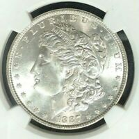 1887 MORGAN SILVER DOLLAR - NGC MINT STATE 65 BEAUTIFUL COIN REF13-009