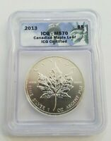 2013 ICG - MS 70 CANADIAN MAPLE LEAF SILVER COIN
