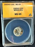 1929-D MERCURY DIME DOUBLED DIE OBVERSE  WDDO-001 ANACS MINT STATE 65 -  VARIETY