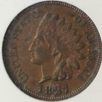 1887 INDIAN HEAD CENT ANACS EXTRA FINE 45 - SHARP DETAILS -  DOUBLEJCOINS 3009-85