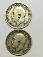 2 X SHILLING COINS 1912 & 1913 GEORGE V SILVER .925
